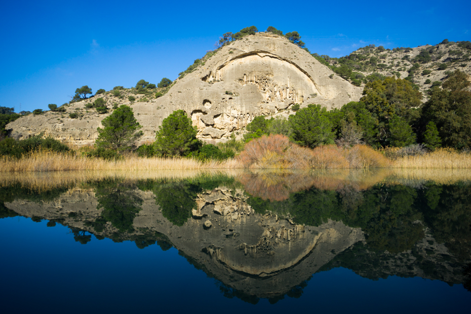Mirror Reflection of Rock on Lake El Chorro